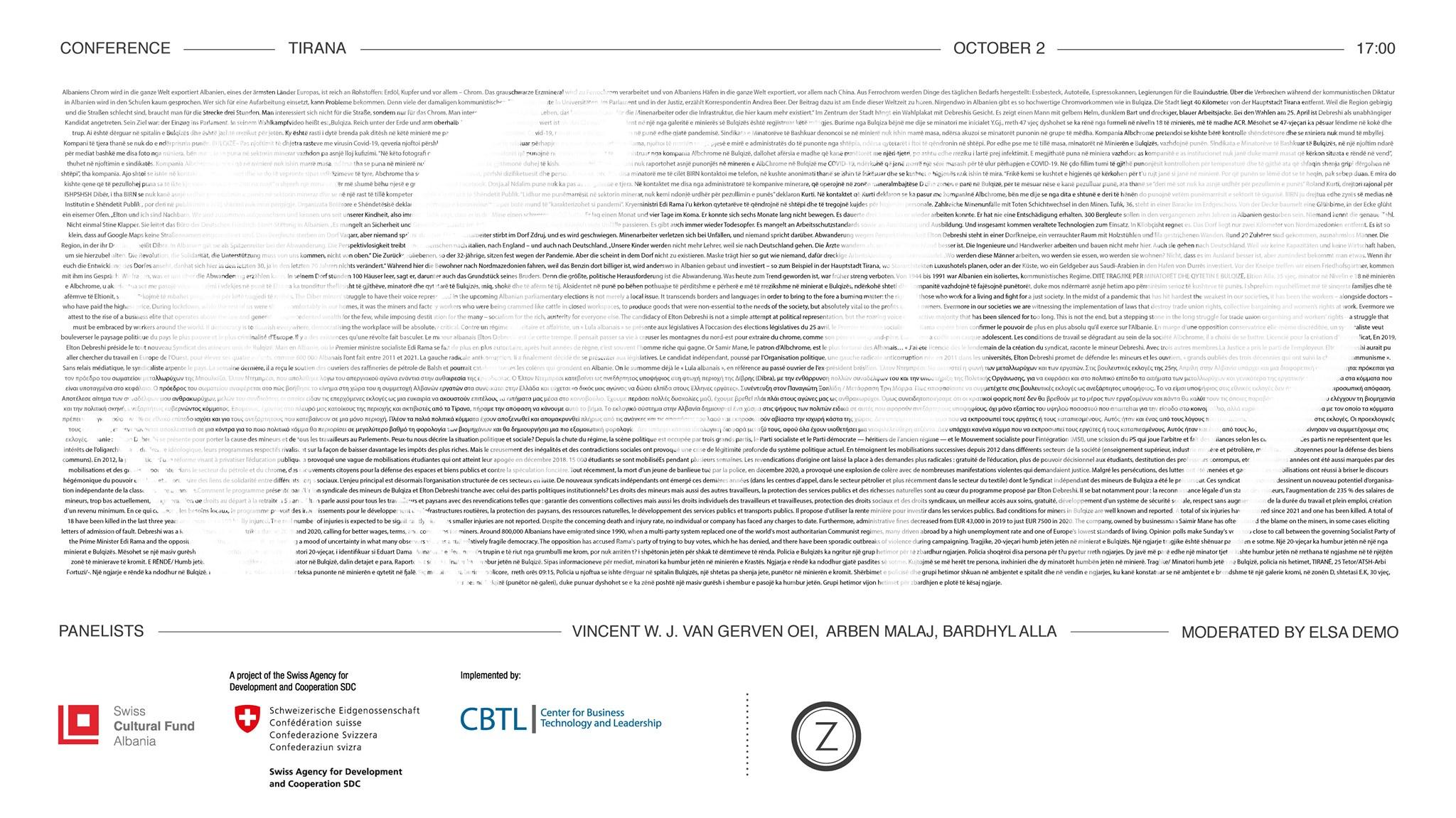 Plagët e Burimit – Politikat e Mineralit | Konferencë | Program Rezidence në Bulqizë – Tiranë